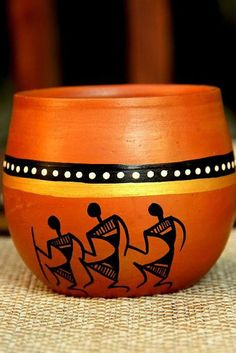 Warli painted terracotta Kulhad from UnravelIndia.in Contemporary Warli, tribal . Worli Painting, Bottle Painting, Bottle Art, Bottle Crafts, Pottery Painting Designs, Pottery Designs, Paint Designs, Painted Plant Pots, Painted Flower Pots