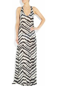 Zebra-print linen dress