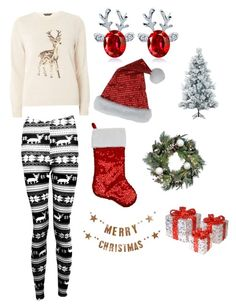 """""""Christmas #2"""" by m1604 ❤ liked on Polyvore featuring Dorothy Perkins, Boohoo, Bloomingville, National Tree Company, Improvements and Fraser Hill Farms"""