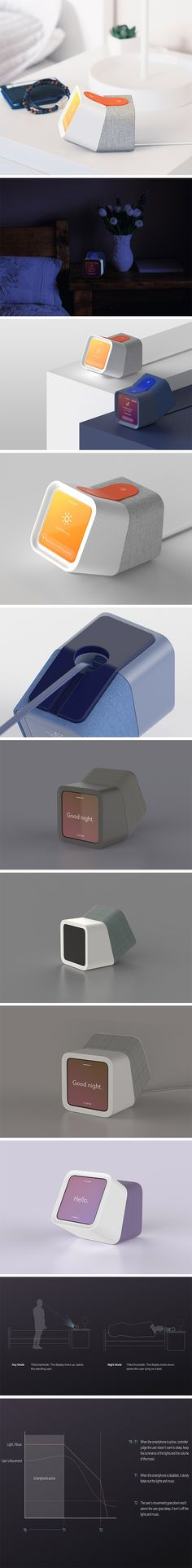 This alarm clock design by Hojung Cha is as smart as it is cute! Designed like a switch, it makes it possible to control your alarm clock in one simple motion. Just as you would switch off a light, tilt the unit back to deactivate the alarm. This unique positioning also makes it ideal for viewing. When the alarm is off, it positions the face in such a way that it's easy to read when standing. When it's activated, the face is easier to read when laying down!