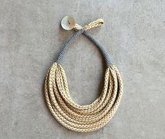 Collana multifilo in tessuto /collana in seta vintage/collana