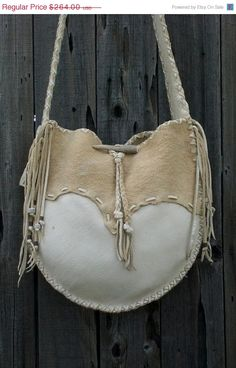 ON SALE Buckskin leather tote drum bag Crossbody by thunderrose, $224.40