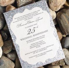 25th Wedding Anniversary Invitation - 25 Glitter Wedding Anniversary Invitations, Engagement Announcement, Wedding Invitations, Gold, Silver by SoireeCustomPaperCo on Etsy https://www.etsy.com/listing/210268211/25th-wedding-anniversary-invitation-25