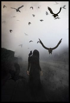I dreamed I was walking in the midst, Shaman Woman, surrounded by the Ravens I had called to me, guiding me...... Artist.....?????????
