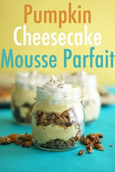 Trade in the Pumpkin Pie this Fall for decadent Dairy-Free Pumpkin Cheesecake Mousse Parfaits; layered with crunchy pumpkin pie spiced granola and topped with homemade coconut whip. Fall Recipes, Snack Recipes, Dessert Recipes, Snacks, Thanksgiving Recipes, Vegan Recipes, Vegan Sweets, Vegan Desserts, Delicious Desserts