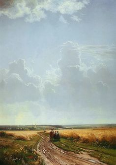 Russian Painter: Ivan Shishkin, (1832-1898)  'Noon. Outskirts of Moscow'   1869    Oil on Canvas