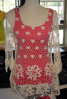 XCVI Crochet top paired with colored tank