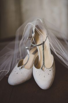 Rachel Simpson Ivory 'Elodie' Bridal Shoes -  Image by  Lola Rose Photography - A wedding gown by Enzoani for an English back garden DIY wedding in Surrey. With hand picked flowers and Bridesmaids dresses from French Connection and Alfred Sung. The Groom wears a classic morning suit.