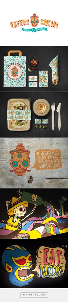 Graphic design, illustration and packaging for Eatery Social Taqueria by Lobby Design curated by Packaging Diva PD. Top chef Marcus Samuelssons latest project is a taqueria, inspired by the street life of New York and the cultural diversity of Malmö. Eat more tacos : )