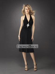 Halter Straps V-neck Ruched Short Prom Dress PD10649