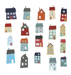 Illustration about A group of little houses in muted colors. Illustration of villages, quirky, houses - 25195327 Art And Illustration, Illustrations Posters, Building Illustration, House Quilts, House Drawing, Little Houses, Home Art, Watercolor Art, Art Drawings