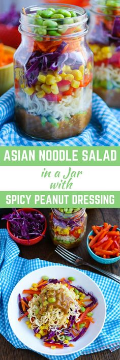 Asian Noodle Salad in a Jar with Spicy Peanut Dressing makes a great summer meal. You'll also love it as a take-to-work lunch. Super convenient, and delicious! Best Salad Recipes, Lunch Recipes, Summer Recipes, Asian Recipes, Healthy Recipes, Jar Recipes, Recipes Dinner, Potato Recipes, Crockpot Recipes