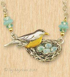 Pendant: Robin with her bird's nest and eggs... fine silver (PMC), enamel and 24 kt. plate -- byMyriam.com ... bird jewelry ... aqua ... animal