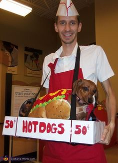 Pet and owner Halloween costume ideas - Hot Dog Vendor and Hot Dog Costume