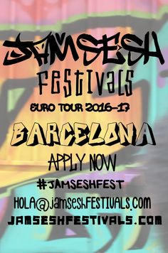 JamSesh Festivals hits Barcelona in October on the #JAMSESHFEST EuroTour'16 covering 22 cities in 33 days across Europe and onto 2016/17 AUS & NewZealand Tour offering ARTISTS discovered along the way an opportunity to join the tour group across the EU, all the way down under and beyond! APPLICATIONS NOW OPEN for artists, vendors & volunteers at JAMSESHFESTIVALS.COM to participate in tech support, coordinating, promoting or to donate a venue or exhibition space email…