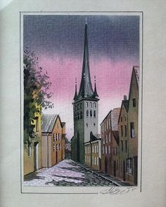 Happy Estonian National Day! I was standing on these cobblestones in 1991 in #Tallinn #Estonia. (St. Olaf's Church Old Town) A student on a budget I read & reread Rick Steves backdoor guides and was prepared to politely negotiate doe this painting in three languages. (Admittedly in two languages my tool kit was: yes no numbers 1-5 please thank you and of course cheers.) And I had 3 currencies Russian rubles Finnish markka & US $. And the price? Fair but firm. A big story for a lovely little…