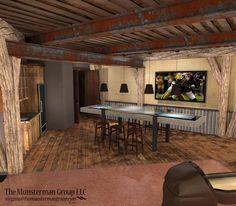 Bowling alley, rec room design concept