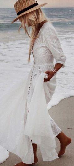 #gypsylovinlight #coachella #hippie #style #spring #summer #inspiration |White maxi dress                                                                             Source