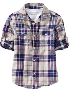 Old Navy | Boys Double Weave Plaid Shirts