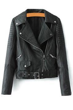 c8bab63c87 Faux Leather Belt Lapel Jacket BLACK  Jackets  amp  Coats