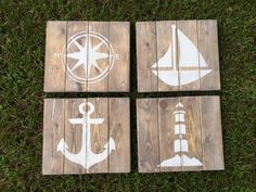 Rustic Nautical Art - Set of 4 Lighthouse Compass Sailboat and Anchor (60.00 USD) by RusticHomemade