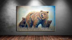 Bear Heaven is a contemporary western wildlife painting of a colorful momma grizzly bear with 2 cubs. For more Fine Art Prints, visit TeshiaArt Collection Grizzly Bear Cub, Bear Cubs, Wildlife Paintings, Wildlife Art, Acylic Painting Ideas, Wild Life, Contemporary Paintings, Fine Art Prints, Original Paintings