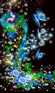 By Artist Unknown. Wallpaper Nature Flowers, Flowery Wallpaper, Flower Background Wallpaper, Beautiful Flowers Wallpapers, Beautiful Nature Wallpaper, Pretty Wallpapers, Colorful Wallpaper, Wallpaper Backgrounds, Butterfly Wallpaper Iphone