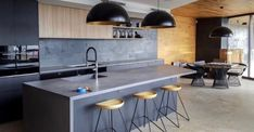 Hit and miss Modern Grey Kitchen, Island Bench, Concrete Kitchen, Brisbane, Terrace, Flooring, Table, Furniture, Instagram
