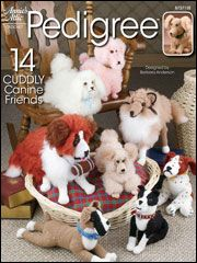 """Annie's Attic crochet canines - pdf download only - Using worsted yarn, you can crochet an Apricot Poodle, Basset Hound, Boston Terrier, Cocker Spaniel, Pekingese, Golden Retriever with Puppy, Boxer, St. Bernard, English Springer Spaniel, Collie and Irish Setter. Dachshund and Scottish Terrier are not shown. Dogs range from 7 1/2""""-15"""" tall."""