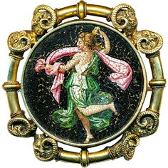 Brooch--Early 19th C. Roman Micro-mosaic Dancing Lady in 14 Karat Gold Rams Heads Mounting