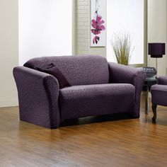 Fresca Aubergine Sofa Slipcover, purple love seat, slip cover, chic home decor, fashionable couch.