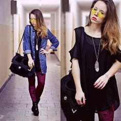 Burgundy velvet leggins & denim shirt (by Wioletta Mary Kate) http://lookbook.nu/look/2923765-burgundy-velvet-leggins-denim-shirt