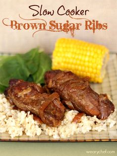 5-Ingredient Slow Cooker Brown Sugar Ribs #crockpot #pork