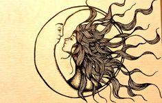 love hair distance My art moon kiss sun doodle insomnia myart surreal hopeless romantic sun and moon