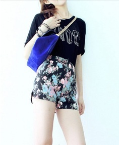 Retro Rose Floral Printed High Waist Shorts #reposted