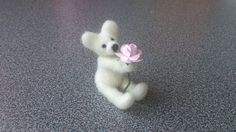 Needle felted white miniature teddy bear with by FeltedByRikke, $17.50