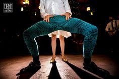 """For the groom who really wants to bust a move on the dance floor restrictive tuxedo pants simply won't do. The crazy pattern of these leggings is outpaced only by the marvellously distorted wide-angle perspective on his maneuver - and the static framing of the bride's feet directly below his torso. Fun edgy and totally engaging!"" - from the editor's of @fearlessphotographerscom. A big congratulations to 4 of our brides and grooms - and to so many of our photographer friends whose images…"