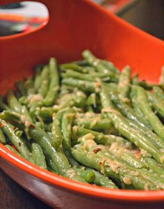 Spicy Garlic Parmesan Roasted Green Beans. A refreshing spin on a green bean side dish.