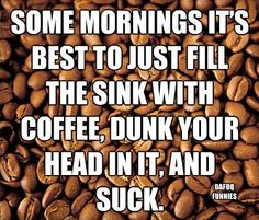 Some mornings its best to fill the sink with coffee, dunk your head in and gulp!