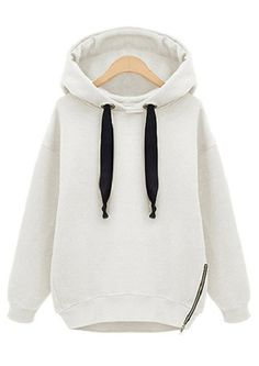 White Hooded Long Sleeve Drawstring Loose Sweatshirt