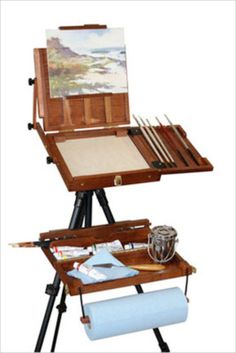 Portable Wooden Artist Painting Poshade Box Case Art Paint Supply Easel Easle