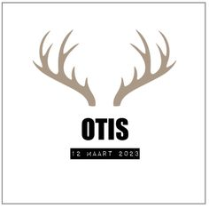 OTIS - Industrieel geboortekaartje van 'Het Uilennestje' voor een jongen/ zoon.  www.hetuilennestje.nl  Gewei/ hert, zwart, wit, taupe, landelijk, stoer.