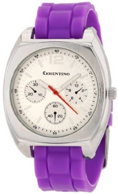 Cerentino Women's RB004 Round Silver Dial Interchangeable Set Silicone Multi-Colored Strap Watch Cerentino. $21.99. Analog Quartz movement. Buckle closure. 5 pieces different color interchangeable silicone strap bands that the bands are easy to change by yourself. Band slides out and you can slide new color band in. Case diameter: 39 mm. Chronograph design on dial (does not function as a chronograph watch)