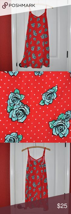 JUSTICE Girl's Red Tattoo Rose Floral/Dot Sundress size 20 (XXL) condition: excellent color: red  tattoo roses tiny polka dots adjustable straps attached tie  @cjrose25  More kids clothes in my Posh closet. Bundle your likes for a discount & save on shipping. Justice Dresses Casual