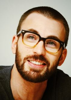 Chris Evans.  With a beard.  And glasses.  I think I need a change of pants now.