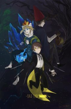 △ Gravity Falls- Bad End Friends △ Bipper, Finn the Ice King (Adventure Time), and Wirt (Over the Garden Wall)
