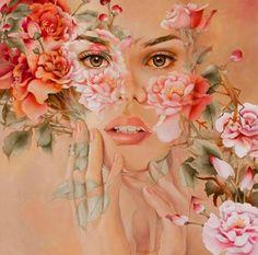 Kai Fine Art is an art website, shows painting and illustration works all over the world. Art And Illustration, Pattern Illustration, Arte Gcse, Gcse Art, Art Amour, L'art Du Portrait, Female Portrait, Portrait Ideas, Artistic Portrait