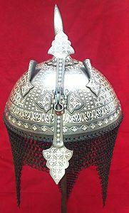 ndo Persian Mughal Warrior Iron Armor Helmet With Silver Work