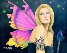 Oil Painting Fairy October Birthstone Tourmaline Butterfly Jewel Pink Fantasy
