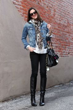 black ponte pants, white button down, denim jacket, leopard scarf, boots